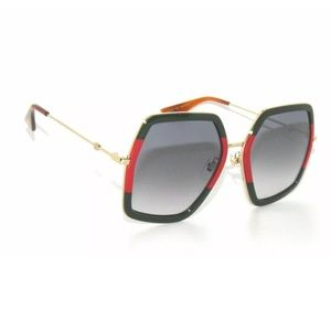 Gucci Sunglasses 0106S green and red frame
